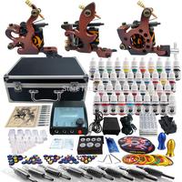 Complete Tattoo Kit 2 Pro Machine Guns 40 Inks Power Supply Needle Grips TK351