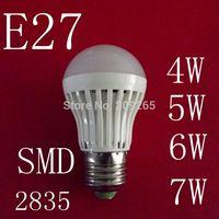 1piece/lot LED lamps E27 4W 5W 6W 7W 2835SMD led lights cold white/warm white AC220V  led bulb