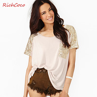 Richcoco fashion star gold paillette patchwork casual loose o-neck short-sleeve T-shirt d240