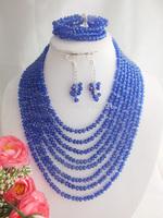 New Fashion Nigerian Wedding African Beads Jewelry set Royal Blue Crystal Necklaces Bracelet Earrings Jewelry Set W-1547
