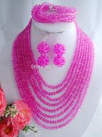 New Fashion Nigerian Wedding African Beads Jewelry set Fushia Crystal Necklaces Bracelet Earrings Jewelry Set W-1546