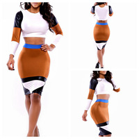 2014 Summer Clothing Set Woman Sexy 2 piece Bandage Party Dress elegant Celebrity Vestidos Casual Patchwork Sexy Bodycon Dress