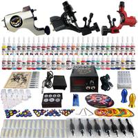 Complete Tattoo Kit 2 Pro Machine Guns 54 Inks Power Supply Needle Grips TK355