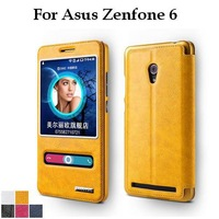High Quality Luxury Flip Leather Case For Asus Zenfone 6 Double Window Protective Stand Cover Case Colorful Free Shipping+Film