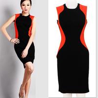2014 Fashion Ladies' Splicing Sliming Bodycon Knee-length Dress,Women Sleeveless Cute Tank Vest Pencil Dresses S-XL