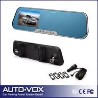 "FULL HD H.264 LCD Car DVR Camera+Clip-on Mirror 4.3"" 140 Wide Angle G-Sensor Moniton Detection Night Vision Free Shipping"