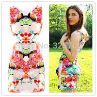 Free shipping 2014 new fashion show thin waist sleeveless retro flower dress/ Ms summer dress