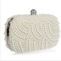 New arrival luxury diamond pearl evening bags 2 sides pearl clutch bag bridal bag fashion women's handbag /wedding purse