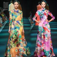 DIY Flower Print 100%Silk Chiffon Fabric  135CM*100CM  6Mommie  2Colors