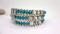 3 Wrap Blue Jade White Turquoise Bead Leather Wrap Bracelet