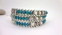3 Wrap Blue Jade White Turquoise Bead Leather Wrap Bracelet