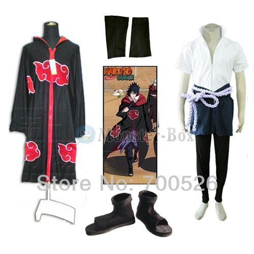Uchiha Sasuke Cosplay Costume V4 Robe Shoes Belt Whole Set High Quality Cool Halloween Cloth From Naruto Anime(China (Mainland))