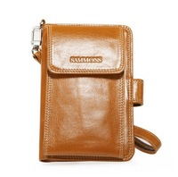 Men Real Genuine Leather Wallet Card Purse Iphone Case Cell Phone Bag Wristlet free shipping