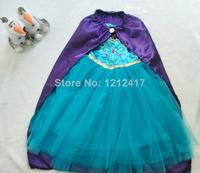 2014 New Kids Vestido Elsa Coronation Dress With Cape Frozen Gift Frozen Party Dress Vestidos De Menina For 2-8ages