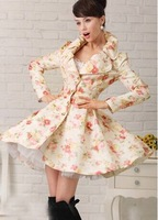 2014 New Fashion Elegant Style Jacquard Weave Big Hem Long Sleeve Cotton Quality Fashion Windbreaker Trench For Women In Autumn
