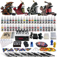 Complete Tattoo Kit 2 Pro Machine Guns 40 Inks Power Supply Needle Grips TK455