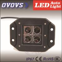 Free Shipping 12V 24V 12W Led Work Light, Flush Mount, Waterproof,SUV,Truck