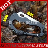 5 In 1 Black Carabiner Clip & Pocket Knife Folding Multitool For Camping Hiking Hunting Outdoor karambit ganzo tools freeship