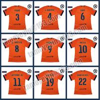 14-15 NEYMAR UEFA Champions League Away Orange Football Jerseys T-shirt version of the player UCL+Respect SUAREZ #9 I.RAKITIC #4