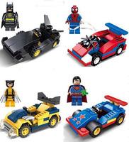 4pcs Super Hero Chariot Minifigures Blocks Toy Super Man/X-man/Batman/Spider-Man