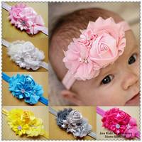Children Girls Shabby  Flower  Satin Headband Baby Headbands Infant Hair Weave Band Baby Hair Accessories,FS246+Free Shipping