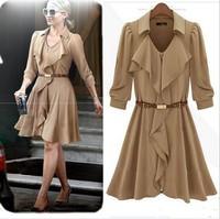 autumn dress Fashion new chiffon dress  with three quarter sleeve women chiffon dress