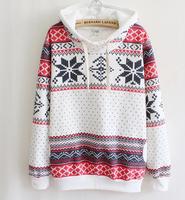 Snow Flower  winter  Women's Hooded Sweatshirts Outwear Hoodies Women Ladies fashion  Coat Winter clothes