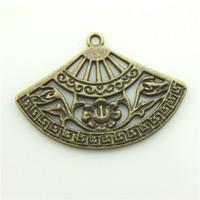 100pcs/lot 25*36mm antique bronze plated vintage fan charm