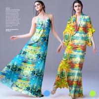Beautiful Tahiti Scenery Print 100%Silk Chiffon Fabric For Tailor DIY Beach Dress  135CM*100CM  6Mommie  2Colors
