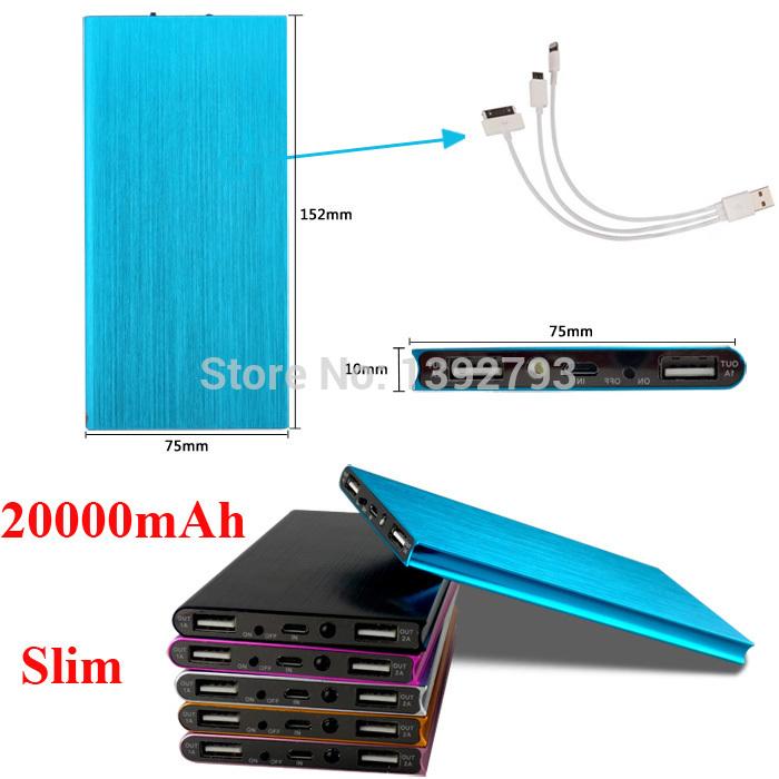 2015 Luxury Matte Polymer Super Slim Power Bank 20000mah Portable Charger External Battery 20000 mah Mobile Phone Backup Powers(China (Mainland))