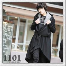 New 2014 Fall Winter Fashion Korean Men's Slim Jackets coat Mens Shawls /Capes /Cloak with Irregular Hem male clothing H837(China (Mainland))