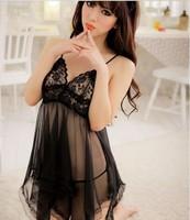 Women Sexy Lingerie Babydoll Dress Sleepwear Lingerie Transparent Underwear Nightwear Chemise With Thong Free Shipping
