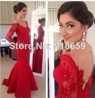 vestido de festa 2014 Red Prom Dress Stunning Sweetheart Open Back Long Sleeves Lace Mermaid Prom Dress