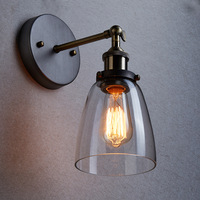 Industrial Edison 1 Light Glass Shade Wall Mount Fixture Home Bedroom Wall Sconce TN-YJ-8858