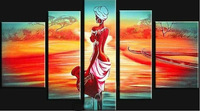 African Landscape oil painting Framed Nude Lady handmade Modern Abstract Home Office Hotel decoration wall art decor free ship