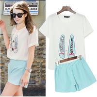 A356 XL - 5XL Plus Size 2014 New Summer Cool Fresh European Style Shoe Printed Beads Two Piece T-shirt Shorts Women Clothing Set