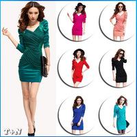 2014 New sexy slim Dress Women's Long Sleeve Dress V Neck Winter Dress