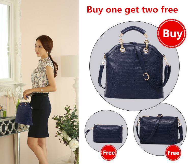 CN Free Shipping Hot new brand buy one get two free fashion casual 2014 women crocodile grain of handbag shoulder bag wholesale(China (Mainland))