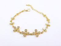 Free Shipping DS016 Lovely Flower Pave Rhinestone Bracelets Rose Gold Bracelets Fashion Korean Style Jewelry For Lady 6pcs/lot