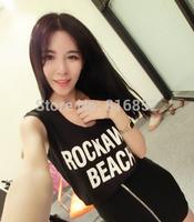 2014 Fashion Summer Women's Clothes  Sleeveless  t shirt Chiffon ,Free Shipping Dropshipping