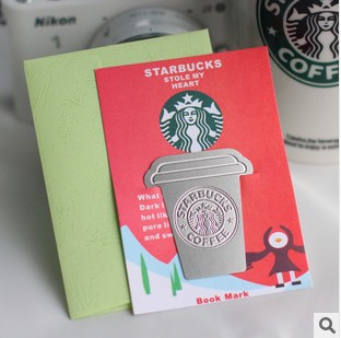 Free shipping Creative stainless steel metal Magnetic Bookmarks Starbucks / gift bookmark, 20pcs/lot, wholesale(China (Mainland))