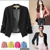 8.19 Sales 2014 blazer women suit blazer foldable brand jacket made of cotton & spandex with lining Vogue refresh blazers W00171