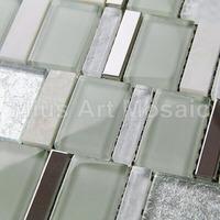 [Mius Art Mosaic] Glass tile mixed Silver stainless steel  mosaic metal  mosaic D1CH304803