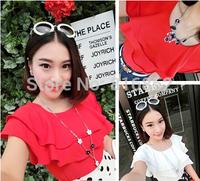 New 2014 Sweet  Princess Cutout Women T-shirt Casual Loose Handmade Crochet Collar Batwing Sleeve Blouse Medium-long T Shirt