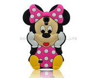 3D Cute Cartoon Minnie Mickey Mouse With Bow Silicone Soft Case Back Cover For Samsung Galaxy S4 I9500