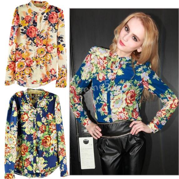 2014 New Chiffon Blouse Women Long Sleeve Floral Pattern Cardigan Tops Shirts Colors(China (Mainland))