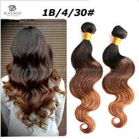 Top quality 6A grade 5pc/lot ombre brazilian virgin hair body wave three tones 1B/4/27 ombre human hair extension freeshipping