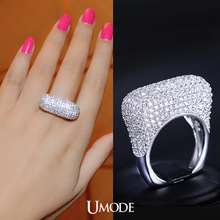 UMODE Elegant Design Womens Ring Small Clutch Shape with Top Quality CZ Stones Paved White Gold Plated Character Ring UR0080(China (Mainland))