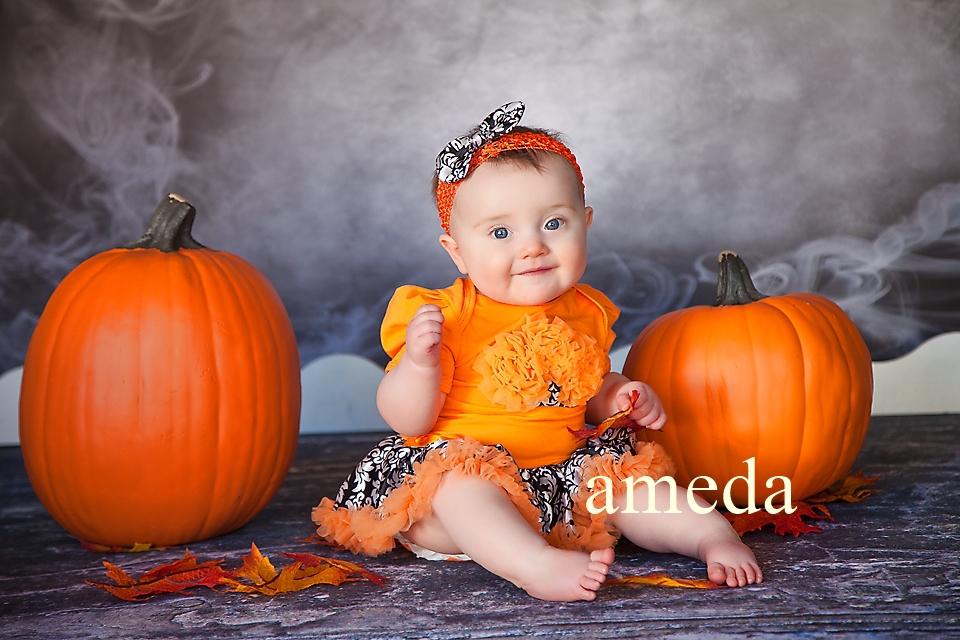Halloween Baby Orange Damask 3D Rosettes Cupcake Bodysuit Pettiskirt Party Dress and Headband 0-18M(Hong Kong)
