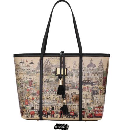 2014 new London hilarity carnival fashion cool girl handbag fancy prince shopping bag castle retro canvas big hand bag(China (Mainland))